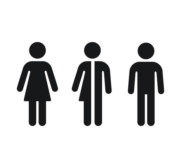 Restroom gender icons: man, woman and unisex. Bathroom door symbols. Isolated vector signs.