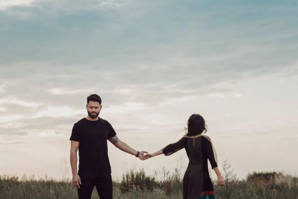 Romantic young couple, relationship breakup