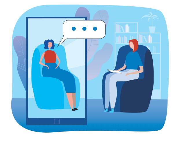 Psychotherapy session online and smartphone. Flat vector stock illustration with psychotherapist or psychologist and patient as a concept of psychotherapy via the Internet.