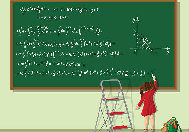Little girl writing long equation on the blackboard in the classroom