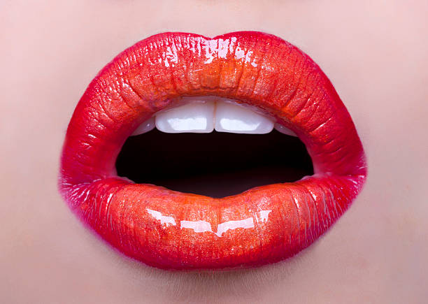 mouth open.perfect lips with vibrant color.